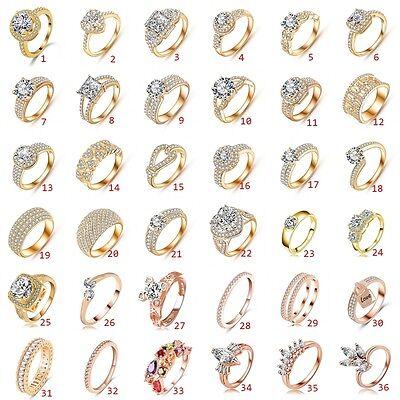 Lady jewelry 18K Rose Gold Filled Ring Crystal Engagement Wedding Bridal Diamond