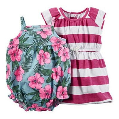 Carter's NWT 3M 6M 18M Infant Girl Tropical Romper Striped Dress 3pc Set