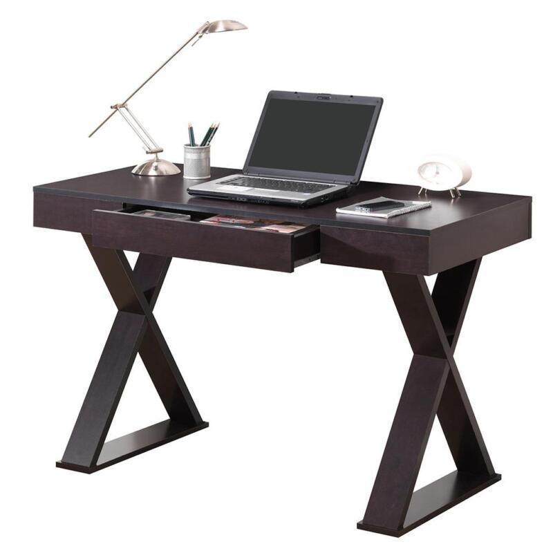 Modern Sleek Design Computer Desk with Pullout Center Drawer in Espresso Finish