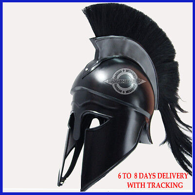 Medieval Greek Corinthian Helmet With Black Plume For Sale Greek Spartan Helmet