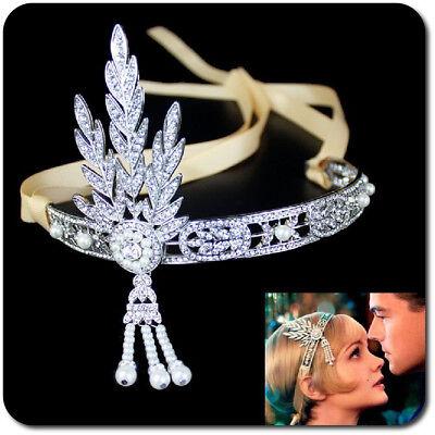 Tiara Great Gatsby Daisy Perlen Strass 1920er Hochzeit Diadem Haarband Braut  ()