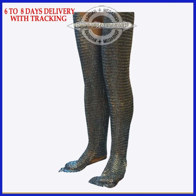 Chain Mail Legging Flat Riveted with Close Washer Blackened Chausses