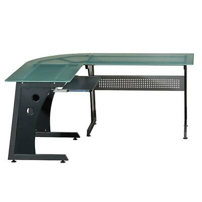 L-shape Computer Desk With Frosted Tempered Glass Top Pull-out Keyboard Tray