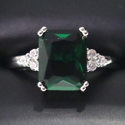 Sparkling Princess Green Emerald Ring Women Anniversary Jewelry 14K White Gold