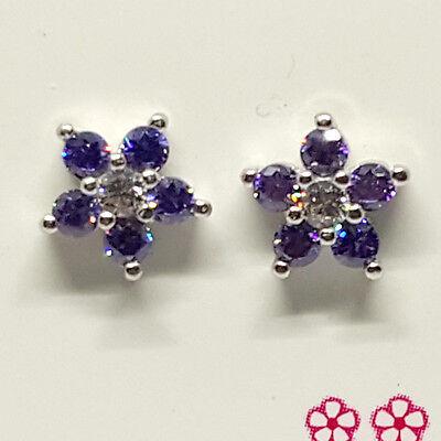 Sterling Silver flower shape Amethyst earring screw back 7mm