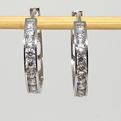 Sterling Silver high polished 20mm plain white Topaz Hoop earrings 925K