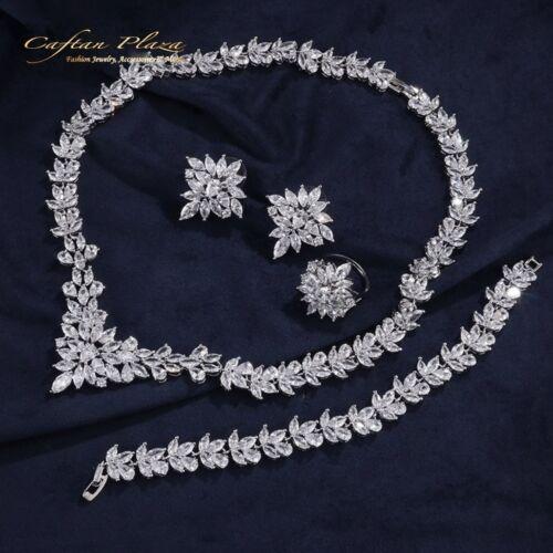 Schmuckset Ohrringe Ring Collier Bracelet XL Gold Weiss 4 Tlg Zirkonia AAA