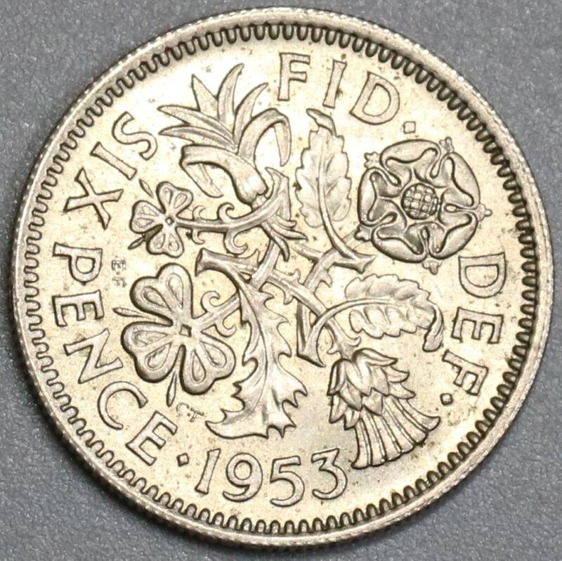 1953 Wedding 6 Pence AU  Elizabeth II Great Britain Coin (19093004R)