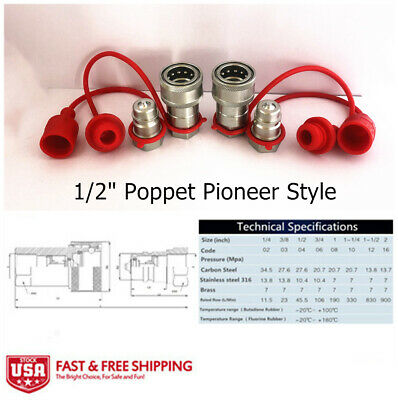 2 Sets 12 Ag Hydraulic Quick Connect Couplers Couplings Poppet Pioneer Style