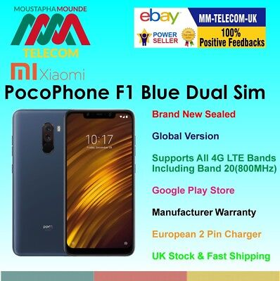 BRAND NEW FACTORY UNLOCKED XIAOMI POCOPHONE F1 64GB BLUE DUAL SIM GLOBAL MODEL