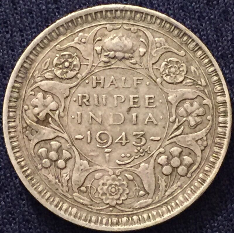 British India 1943 1/2 Half Rupee Bombay Mint- Circulated- Please See Pictures