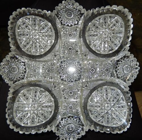 """~FRY AMERICAN BRILLIANT~ Cut Glass Square Bowl CHICAGO Pattern 9"""""""