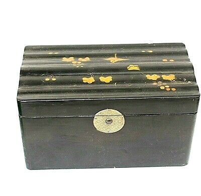 Tea caddy box Antique Japanned Oriental 2 sections Bird decoration Wood  Old 41