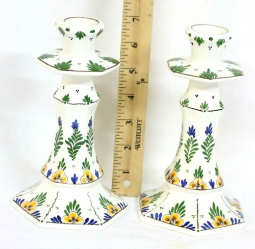 Agro Delfts Vintage Pair of Hand Painted Candlesticks 527