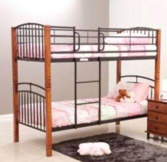 Timber and Black Wrought Iron Bunk Beds