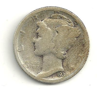 A NICE VINTAGE BETTER DATE 1934 D MERCURY SILVER DIME OLD US COIN MY155