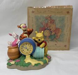 Vtg Disney WINNIE The POOH TIGGER AND PIGLET Honey Pot Desk Clock EUC ~ Rare!