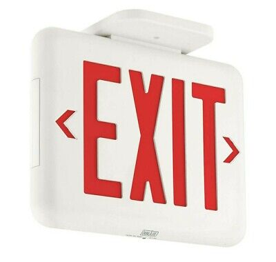 5x Exit Sign Thermoplastic Led Red Letters Dual-lite Hubbell Lighting Eveurw