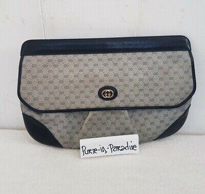 Large Vintage Gucci Clutch Bag Purse GG Mono Authentic 80s Vinyl PVC Leather Big