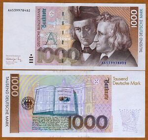 Germany Federal Republic, 1000 Mark, 1991, P-44 (44a), UNC > Scarce Pre-Euro