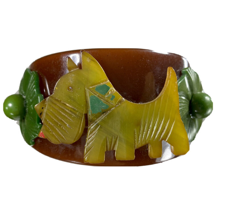 Bakelite Scottie Dog Cuff Bracelet, Brown & Green Bakelite