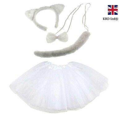 WHITE CAT TUTU COSTUME Kids Ladies Fancy Dress Halloween Instant Animal Ears UK (Cat Fancy Dress Kostüme Uk)