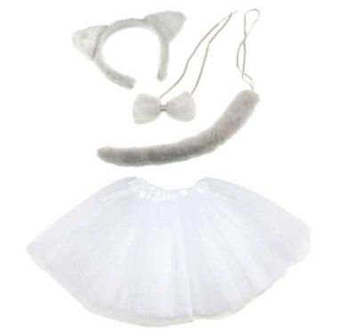 Weiße KATZEN KOSTÜM Mädchen od. Damen Verkleiden Fasching Karneval - Weiße Katze Kostüm