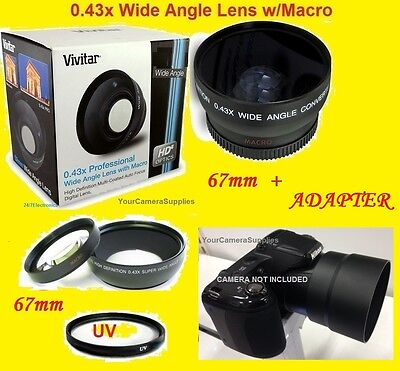 JJC 0.43x Wide Angle Lens 67mm+uv+adapter For Camera Niko...