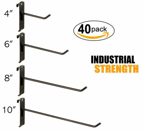 "Black Gridwall Hooks Combo Pack of 20 Assorted 5 ea 4"",6"",8"" &10"""