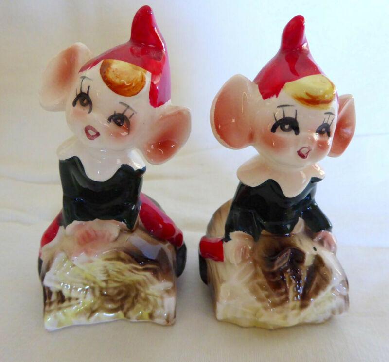 Beautiful Vintage Ceramic Set Pixie Fairy Imp Elf on Log Salt & Pepper Shakers