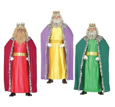 King Costume For Adults (Adult Mens King Costume 3 Colours For Fancy Dress Christmas)