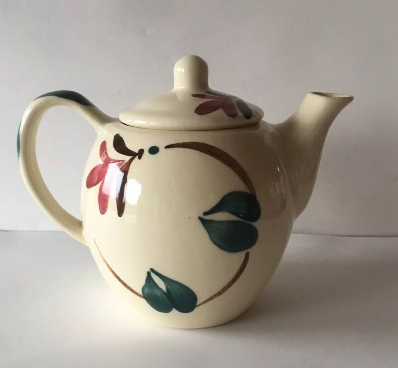 VINTAGE PURINTON POTTERY RED IVY BLOSSOM 3 CUP TEAPOT