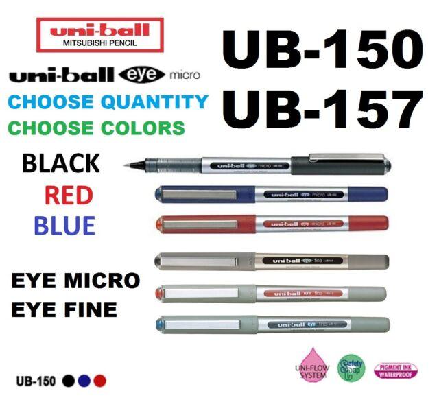 UB 150 157 CHOOSE HOW MANY Eye Fine Micro 0.7 0.5mm Pen Uni ball Blue Black Red