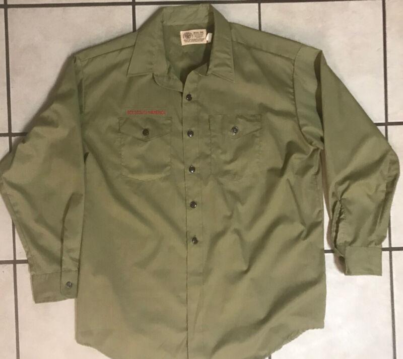 Vintage 60s-70s BOY SCOUT Green UNIFORM SHIRT Long Sleeve Adult Size 18 R XL