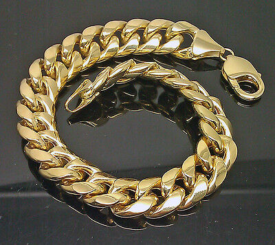 10K Men's Yellow Gold Thick Miami Cuban Bracelet 11mm, 8 Inches