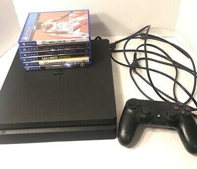 Sony Playstation 4 PS4 Slim 1TB Console - Black TESTED CUH-2215B With Six Games