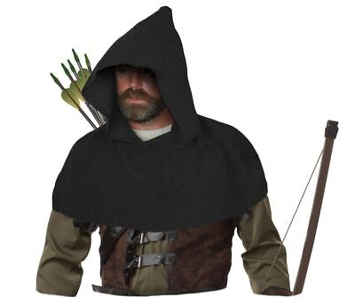 Adults Black Medieval Archers Cowl Fleece Arrow Hood Sherwood Forest