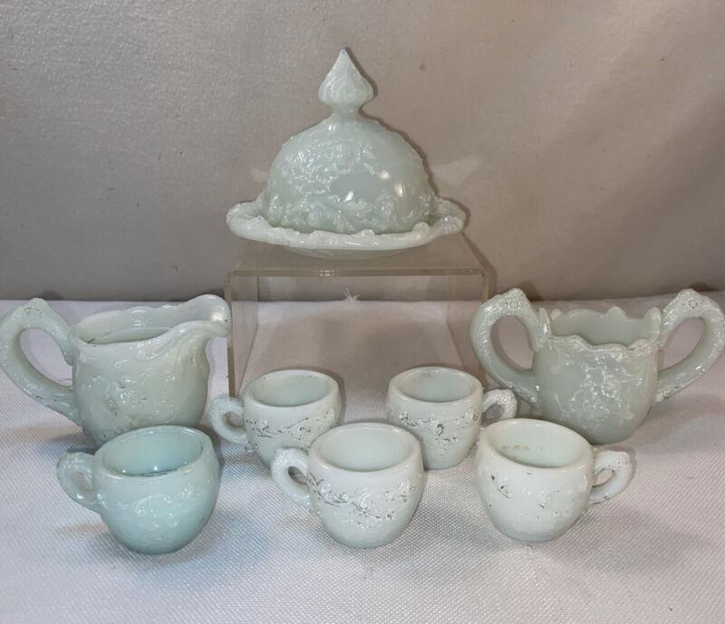 Vtg Antique Child's Set Milk Glass Sugar Bowl Creamer Round Butter Dish Tea Cups