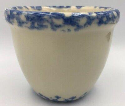 Workshops of Gerald E Henn Custard Cup Ramekin Spongeware Blue Cream Handpainted