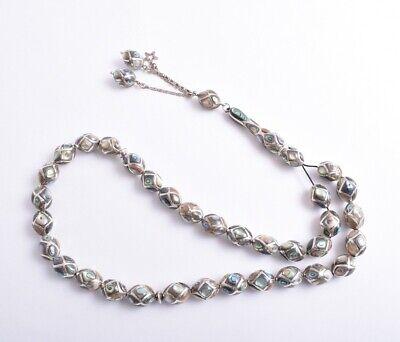 Silver-mother of pearl  inlaid Islamic prayer beads, musllim Tasbih-Masbaha