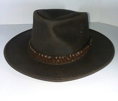 🔥Kakadu Traders Australia Geniune Leather Bush Hat XL Traditional Brown Point for sale  Naples