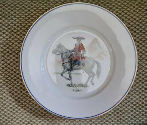 JKW WESTERN GERMANY PLATE, Soldier, Officer on Horseback Gold trim Beautiful