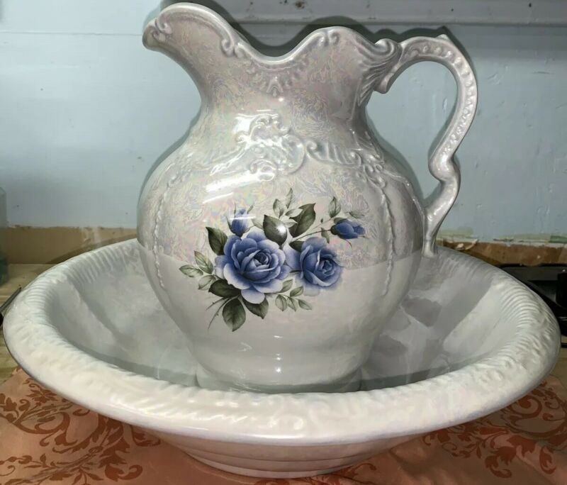 Vintage ARNEL'S Iridescent Blue Floral Large Water Pitcher And Basin