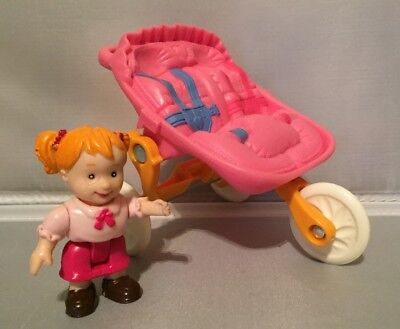 Fisher Price Loving Family Twins Double Jogging Stroller & Girl Doll Pink Shirt