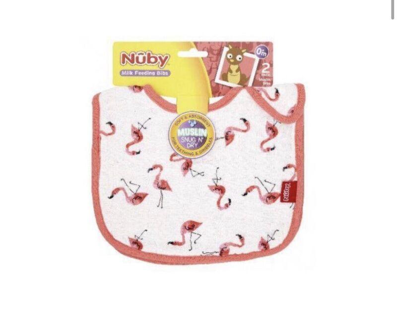 Nuby+Muslin+Snug+N+Dry+Bibs%2C+Pack+of+2+Pink+Flamingo+Triang+Brand+New+From+Birth
