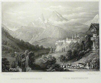 BERCHTESGADEN - Gesamtansicht - Frommel - Stahlstich 1842