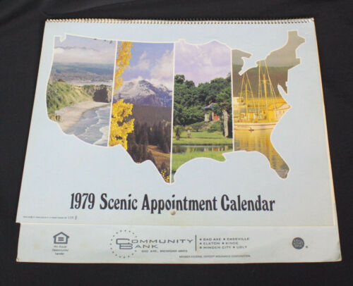 Vtg Community Bank Calendar 1979 Advertising Caseville Bad Axe Kinde Ubly MI