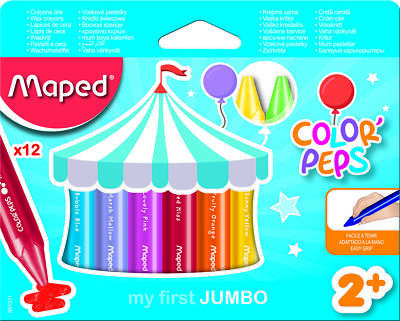 Helix Maped My First Jumbo 12pk Jumbo Wax Crayons Ideal for Ages 2+-861311