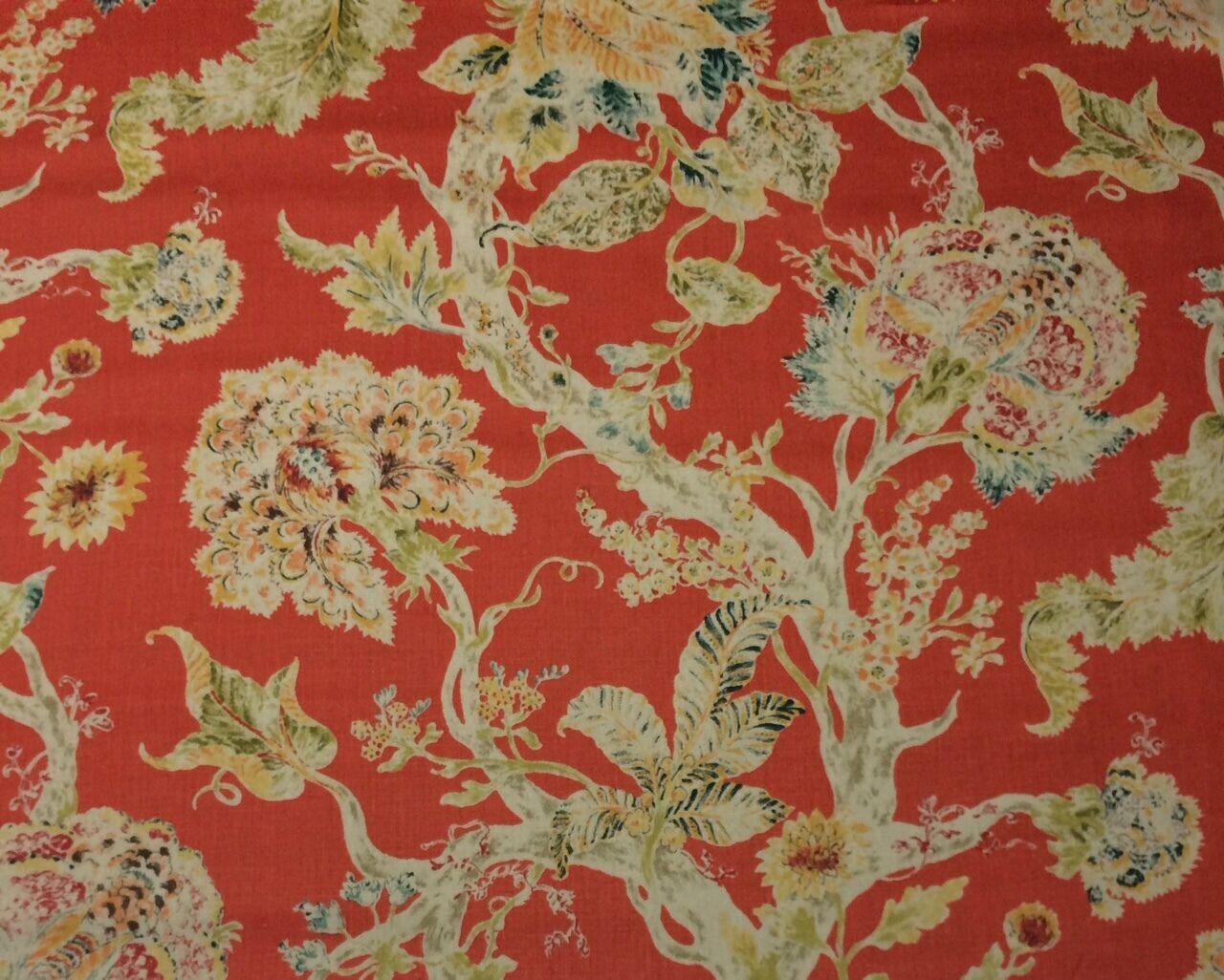 ballard designs rayna coral red floral 100 linen designer fabric ballard designs rayna coral red floral 100 linen