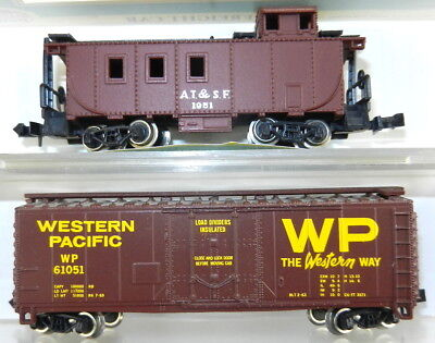 N Scale Atlas Western Pacific Plug Door Box Car & AT&SF Caboose ~ Used S27V, used for sale  Doylestown